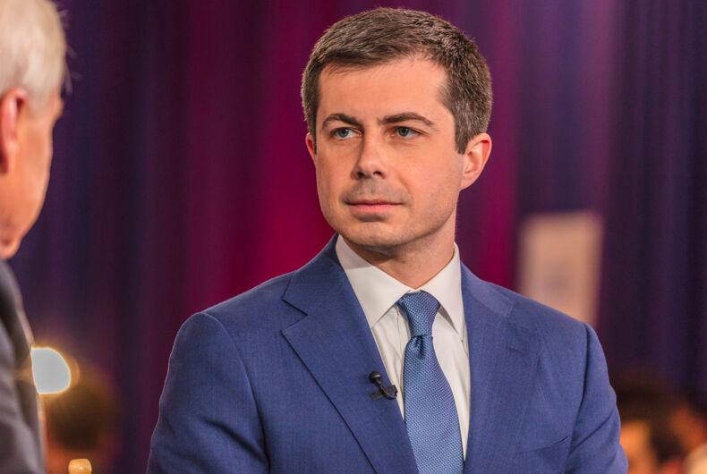 FEB 19, 2020, LAS VEGAS, NEVADA - USA -Chris Matthews of MSNBC interviews Democratic Presidential Candidate Mayor Pete Buttigieg Presidential Debate