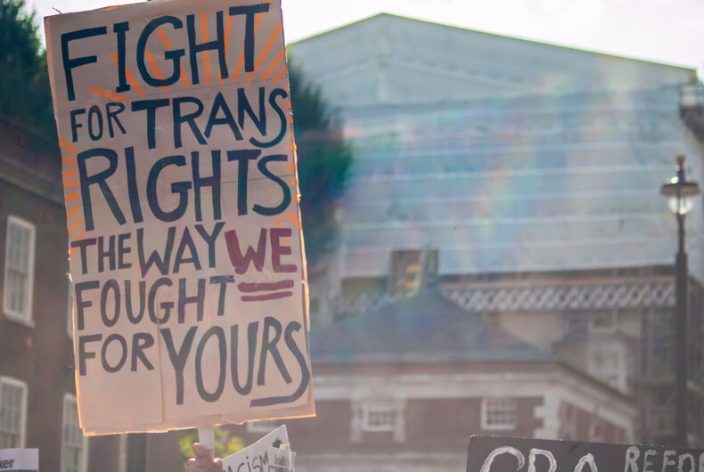 LONDON/ENGLAND- 12 September 2020: Trans rights placard at Trans Pride 2020 in London