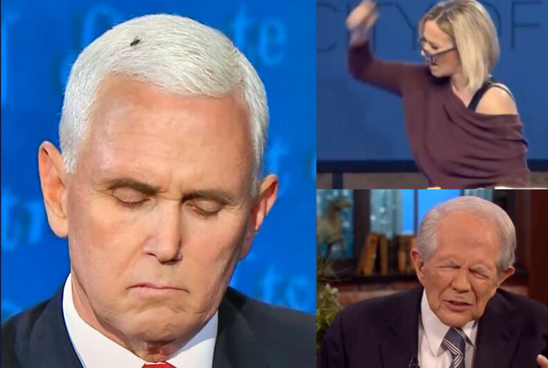 Mike Pence and the fly (left), Paula White (top, right) and Pat Robertson (bottom, right)
