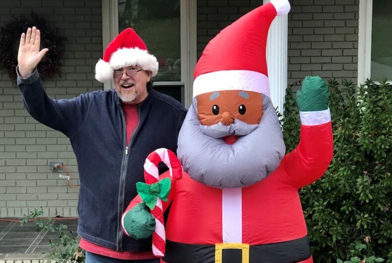 The family's neighbor, Chip Welch, put up his own Black Santa and sparked a wave of support from other neighbors