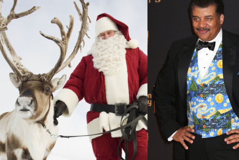 Neil deGrasse Tyson (right) and Santa with one of his reindeer (left)