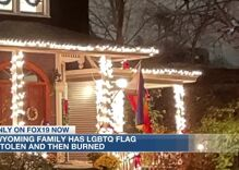 Someone stole a rainbow flag from an Ohio family's porch & burned it