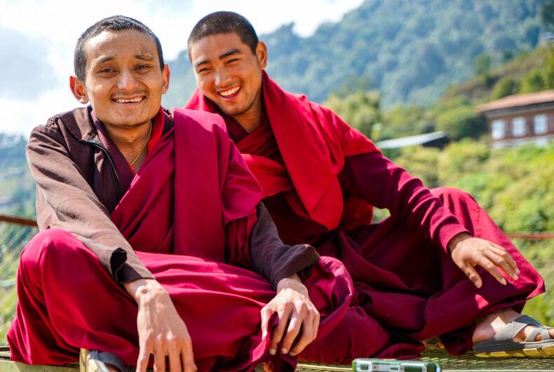 Bhutanese Buddhist monks at the monastery of Gantey.