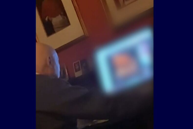 Video allegedly shows Father George Rutler looking at a gay porn video at the church in New York City.