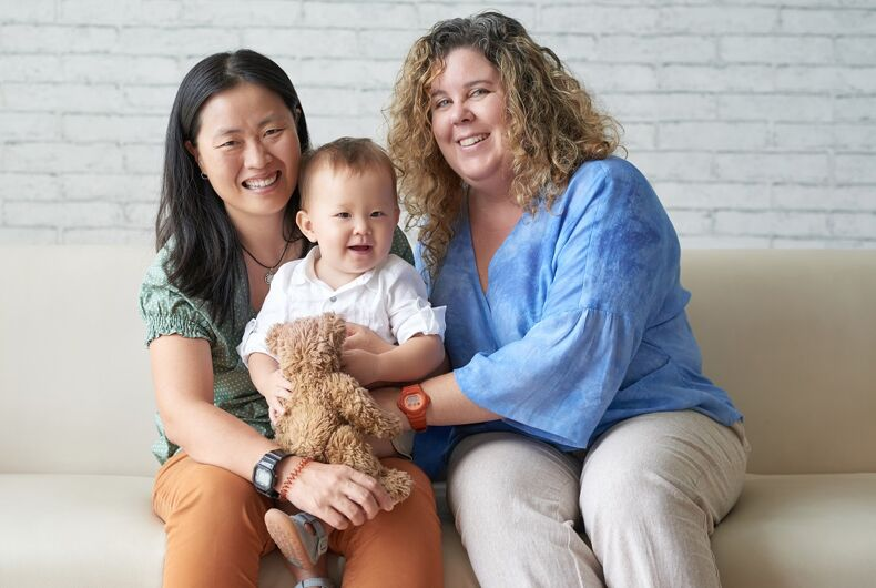 Lesbian couple with a baby