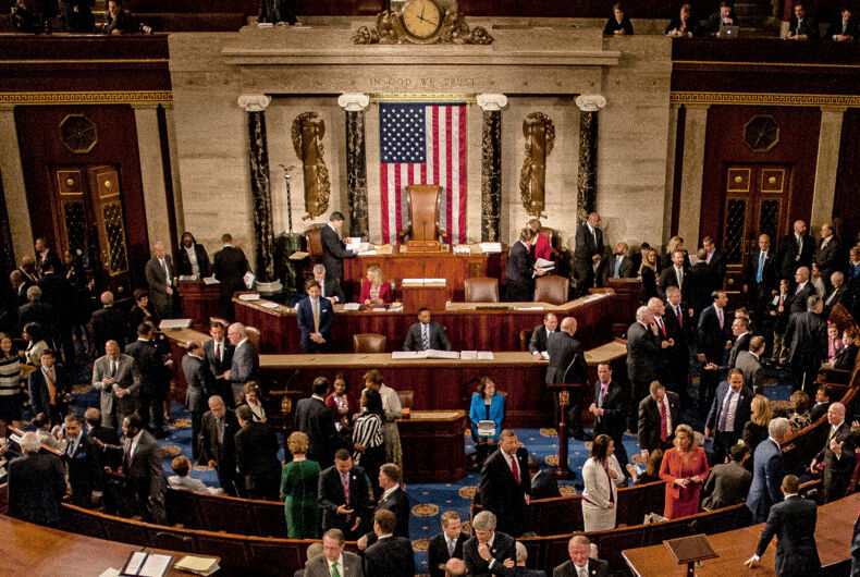 Washington, DC., USA, January 3, 2017 Members of the 115th congress and their familes mingle on the house floor while attending the joint session on the opening day of the current session.