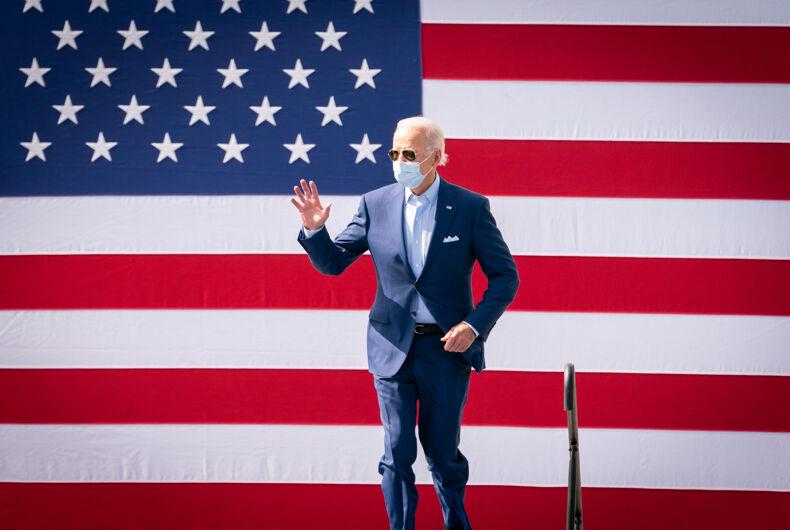 Biden in front of American flag - President Joe Biden During Drive-In Rally at Broward College - Coconut Creek, FL - October 29, 2020
