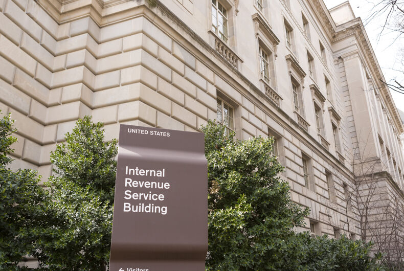 WASHINGTON, DC, USA - MARCH 23, 2006: IRS building sign. Internal Revenue Service.