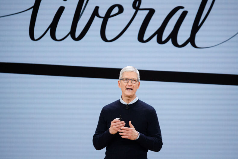 Tim Cook, Chief Executive Officer of Apple Inc., speaks during the launch event for the iPad 6 at Lane Technical College Prep High School in Chicago, March 27, 2018.