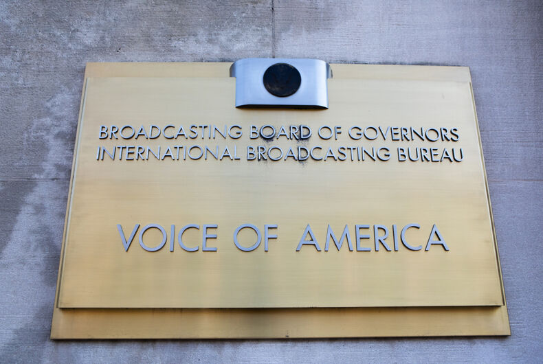 WASHINGTON, DC - JUNE 24, 2019: Sign for the Voice of America at the Wilbur J. Cohen Federal Building. VOA is the largest U.S. international broadcaster.