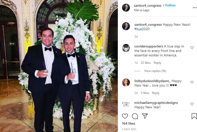 Congressional hopeful George Santos (left) and his fiancé (right) at the Mar-A-Lago New Year's event, as shared on Instagram