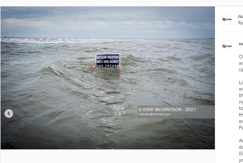 Photo of ICAN demonstration in Atlantic Ocean off of Far Rockaway