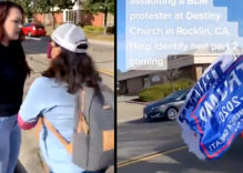 Maskless bully attacks LGBTQ activist outside church & shouts slurs in viral video