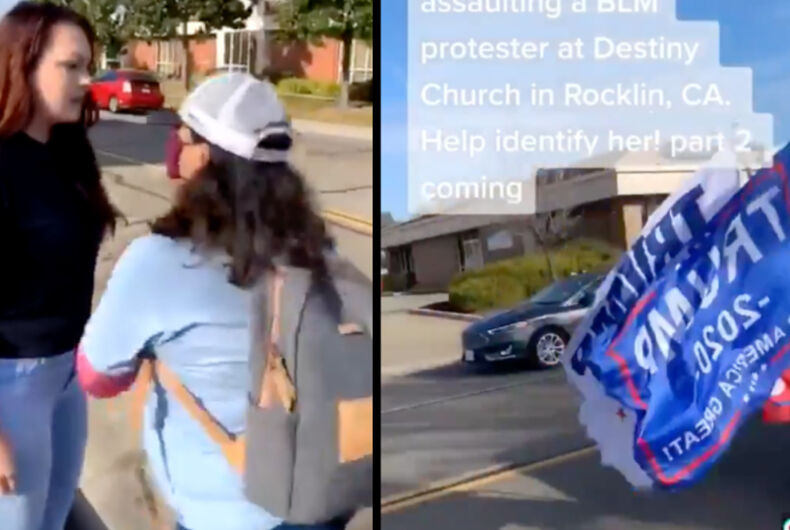 An anti-LGBTQ person confronts a protestor outside of Rocklin Church (left) before a Trump flag-waving truck honks in support.