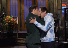 John Krasinski kisses Pete Davidson because he has to give the fans what they want