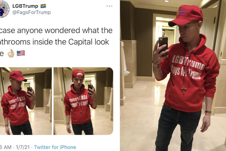 Mark Hutt posting photos of himself from a bathroom in the U.S. Capitol