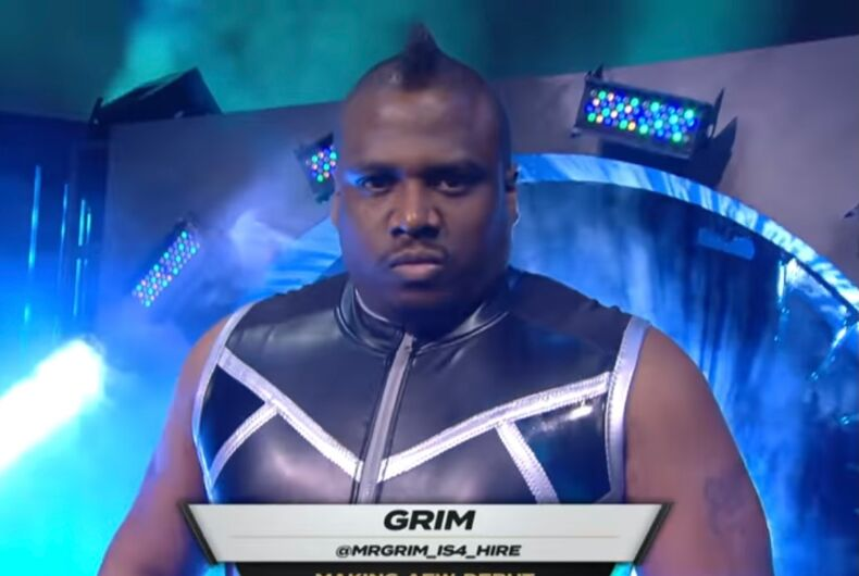 Mr. Grim entering the arena in his All Elite Wrestling (AEW) debut.