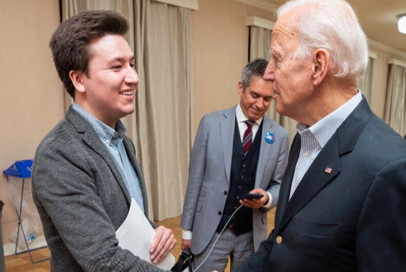 Branden Cohen (left) meeting with Joe Biden (right)