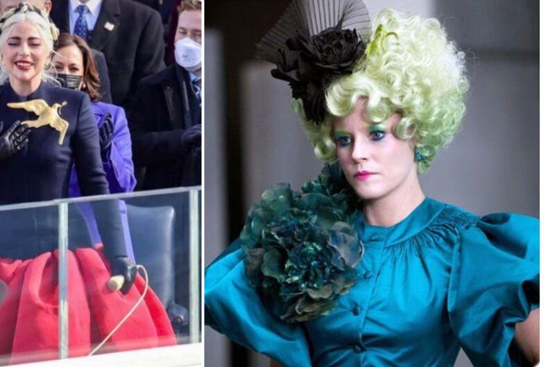 Lady Gaga's brooch did not impress Effie Trinket.