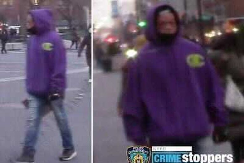 The assailant in an allegedly anti-gay attack in Union Square Park, Manhattan. The NYPD believes the assailant is wearing a purple hoodie, blue jeans and black sneakers.