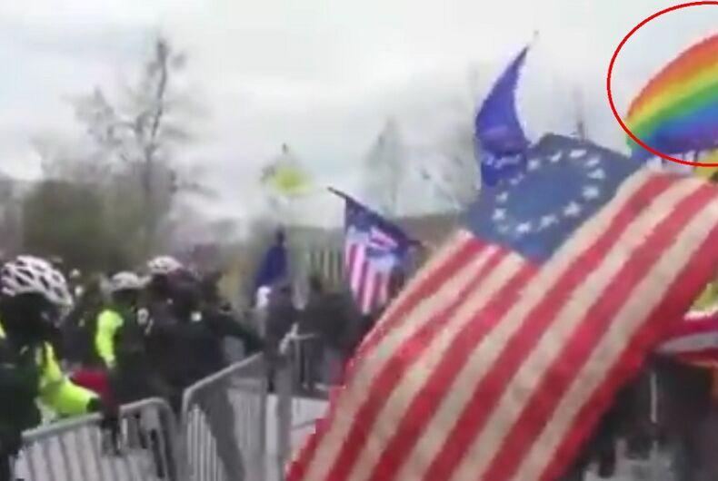 The rainbow flag at the MAGA riots