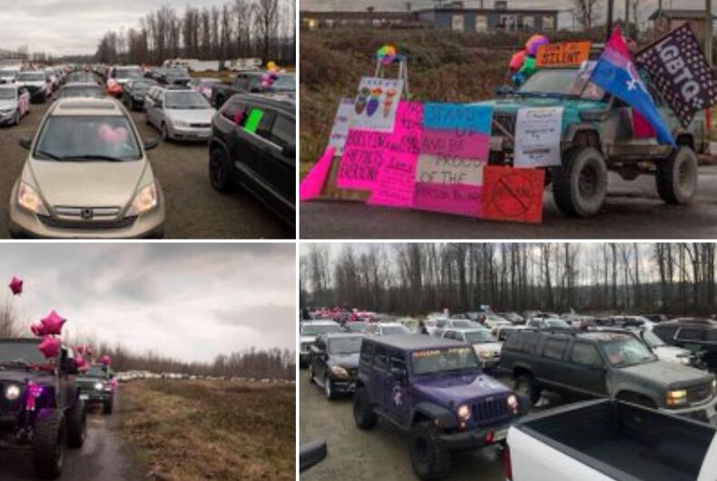 Hundreds of cars rallied in British Columbia in support of a transgender teen assaulted at school.