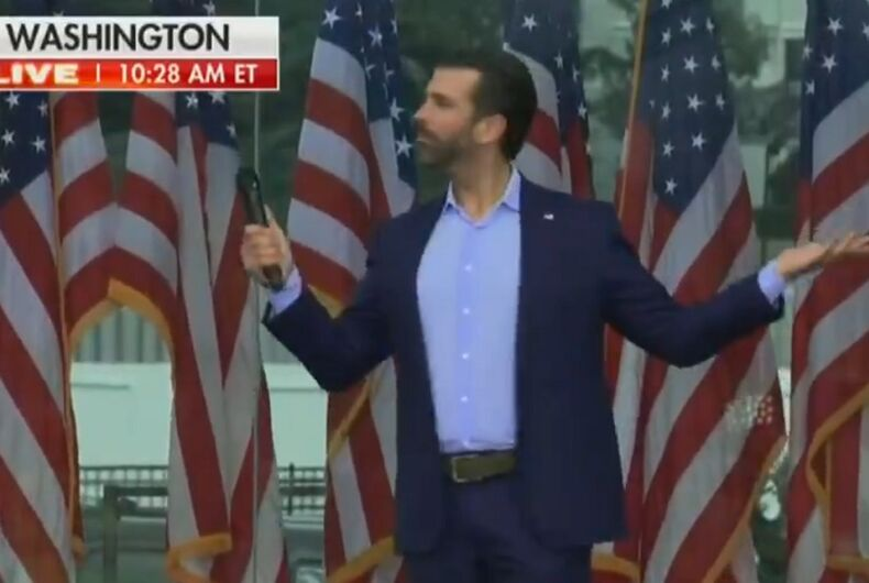 Donald Trump Jr. ranting about transgender women just prior to the attack on the Capitol