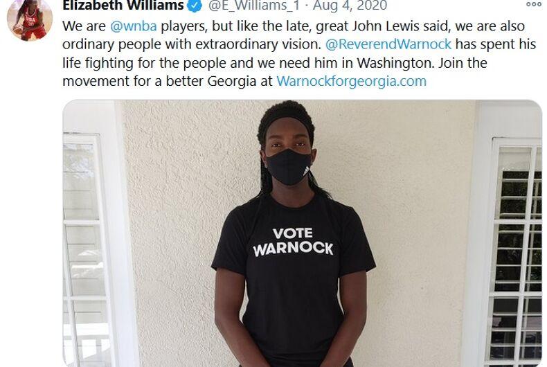Elizabeth Williams's tweet showing her support for Warnock
