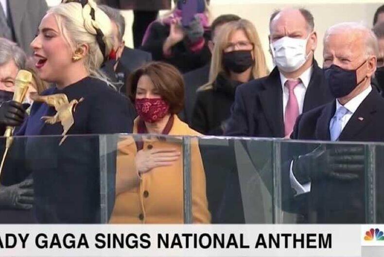 Lady Gaga singing the National Anthem at the Inauguration