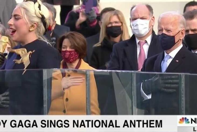 Lady Gaga singing the National Anthem at the Inauguration
