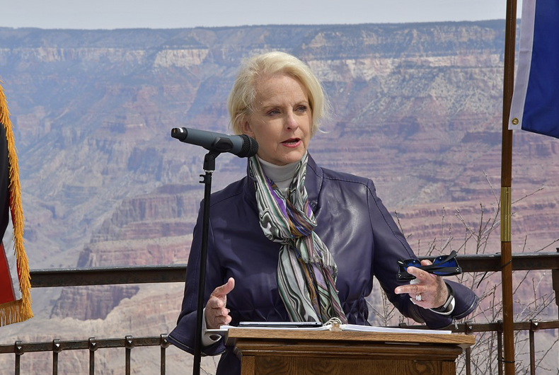 Cindy McCain accepts an award on her husband's behalf in April 2018 at Grand Canyon National Park