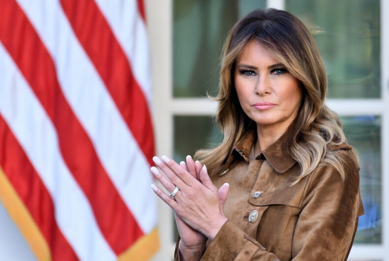 WASHINGTON, DC - NOVEMBER 26, 2019: First Lady Melania Trump stands in the Rose Garden of the White House as the President pardons the Thanksgiving Turkey,
