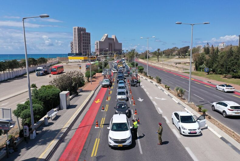 A police coronavirus checkpoint near Haifa, Israel