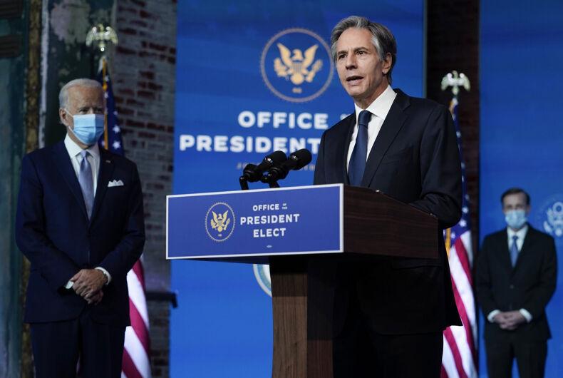 Antony Blinken speaking next to Joe Biden in Washington, D.C. on Dec. 1, 2020.