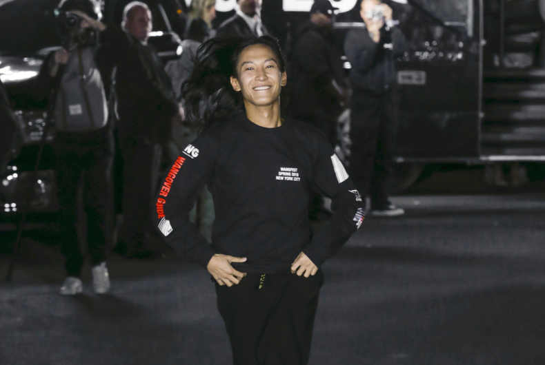 NEW YORK, NY - September 09, 2017: Designer Alexander Wang walks the runway at the Alexander Wang Spring Summer 2018 fashion show during New York Fashion Week