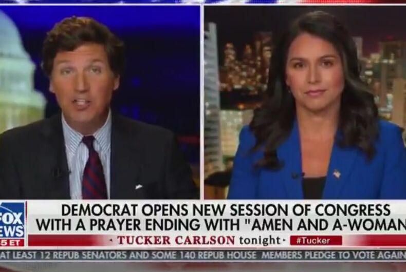 Tulsi Gabbard went on white nationalist Tucker Carlson's show to complain about gender-neutral language.