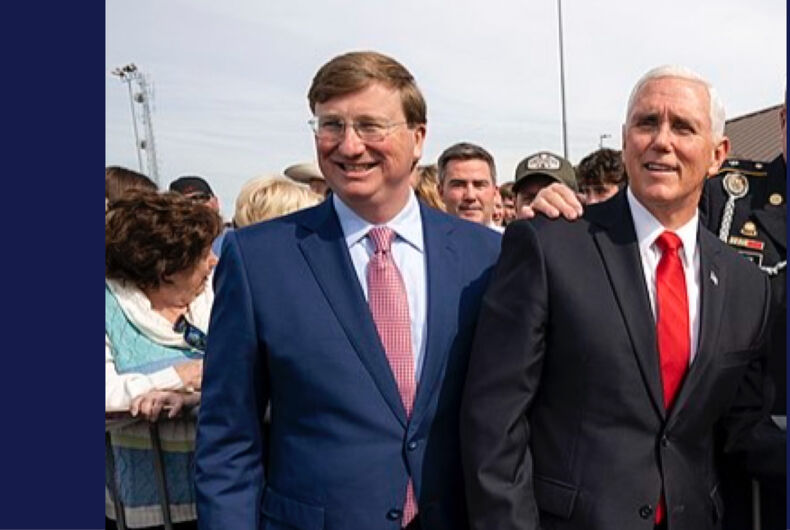 Tate Reeves (left) welcoming Mike Pence (right) to Mississippi in 2019.
