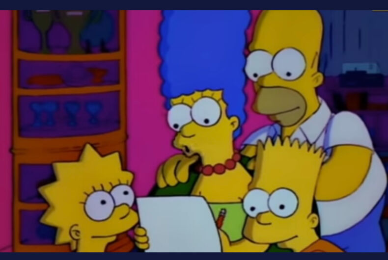 The Simpsons family (from left to right - Lisa, Marge, Homer, and Bart)