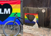 Gay couple's Black Lives Matter rainbow flag ripped apart by hateful vandal