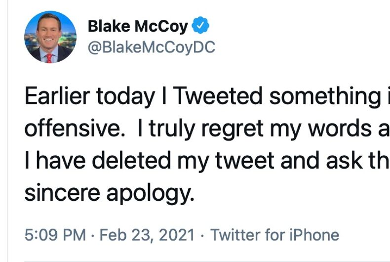 Fox 5 news anchor Blake McCoy has apologized for an offensive tweet.