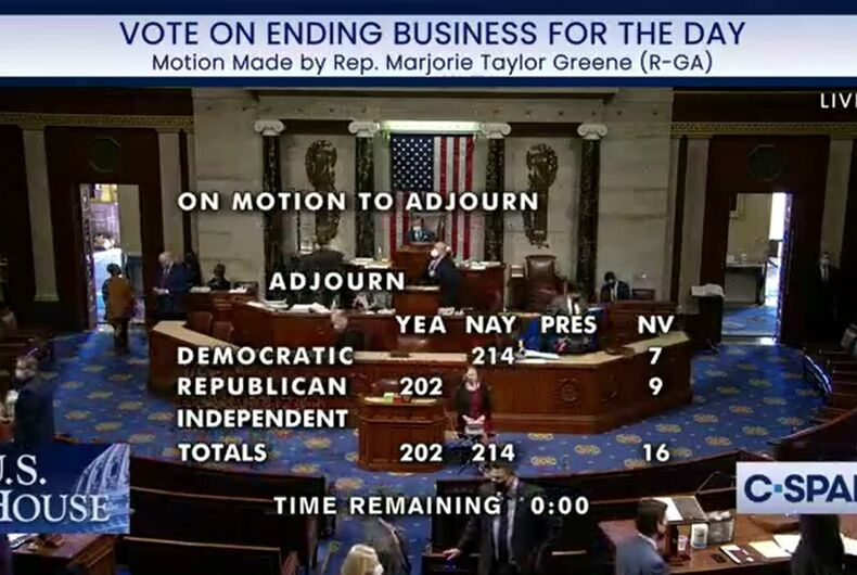 An attempt by Congresswoman Marjorie Taylor Greene to adjourn the House of Representatives failed on a party line vote.