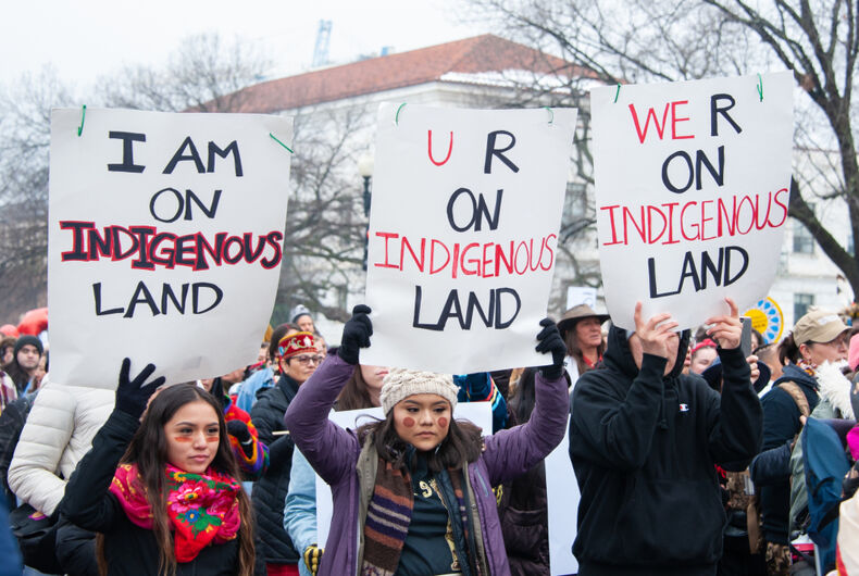 Participants in the first Indigenous Peoples March protest in Washington, DC on January 18, 2019