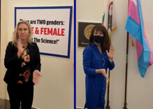 Two Congresswomen are having a stand-off over trans rights outside their offices
