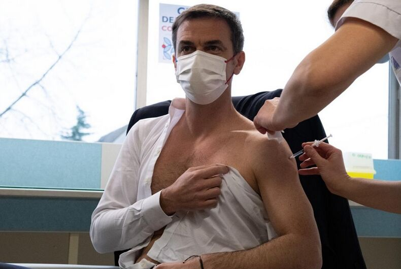 French Health Minister Olivier Véran getting the COVID-19 vaccine.