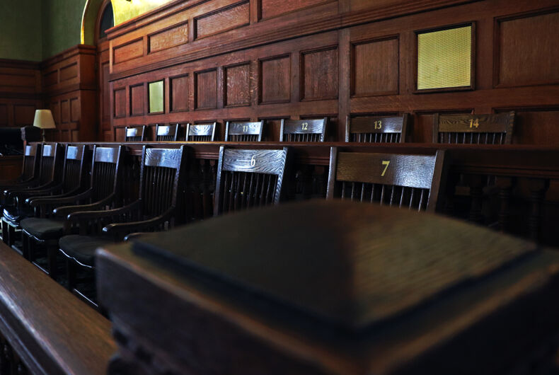 A jury box, that is, the chairs a jury sits at. Looks old-school