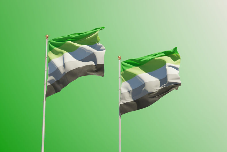 Two Aromantic Pride Flags