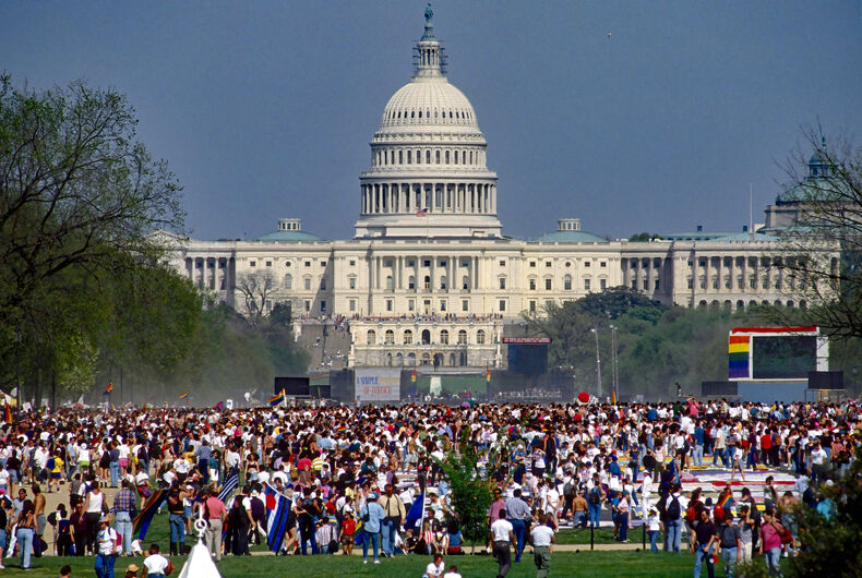 Washington DC, USA, April 25, 1993 Hundreds of thousands of LGBT people marched past the White House to listen to speakers at the Capitol