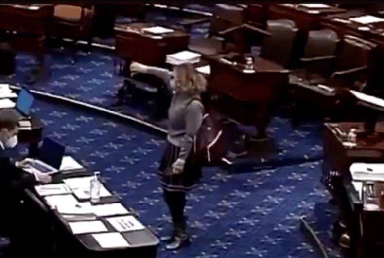 Sen. Kyrsten Sinema (D-AZ) voting 'no' against minimum wage increase amendment on March 6, 2021 Senate floor vote