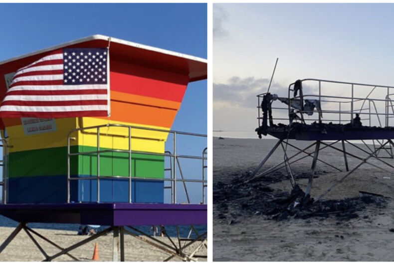 The Pride lifeguard station on Long Beach before and after the fire on March 23, 2021.