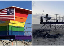 Rainbow lifeguard station burned down in possible hate crime. People want it back, gayer.